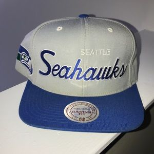 Seattle Seahawks Script SnapBack Hat Mitchell&Ness